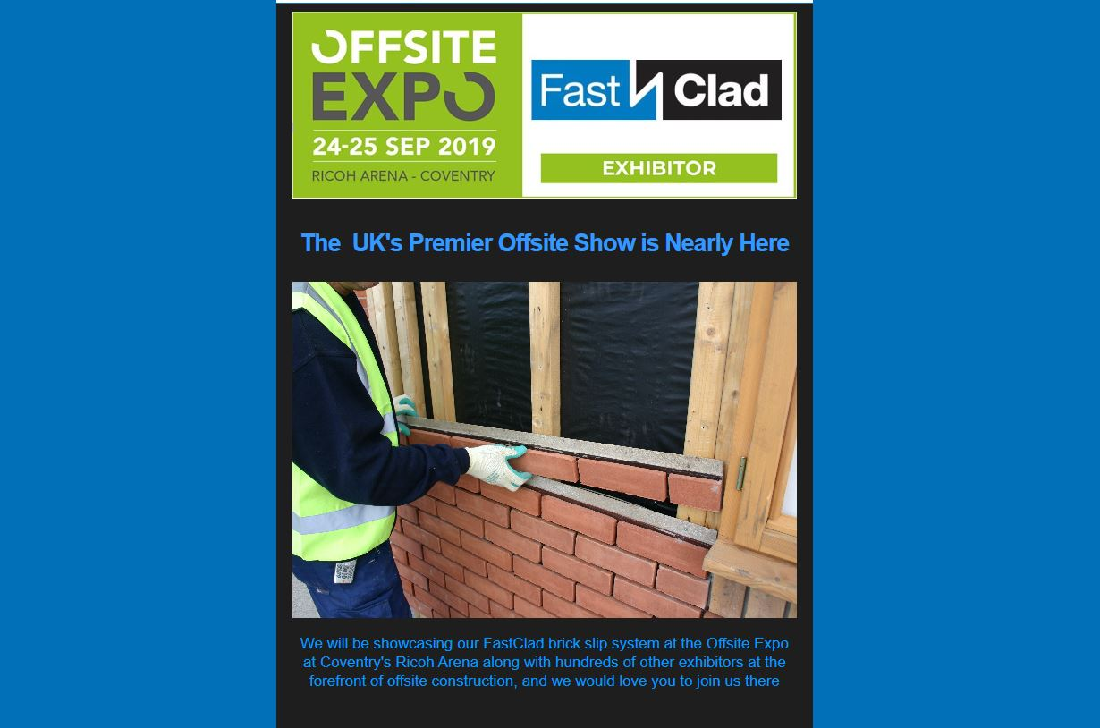 FastClad Exhibiting at OffsiteExpo Coventry 24th and 25th September